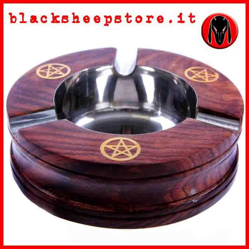Posacenere in legno con pentacoli, wicca,  esoteric