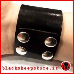 Bracciale in cuoio 5cm nero artigianale
