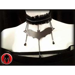 Collarino Goth con pipistrello in cuoio