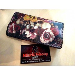 """Portatabacco in pelle """"Skulls and Flowers"""""""