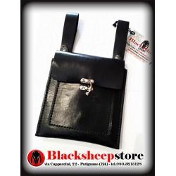 Scarsella in cuoio nera, borsa da cintura