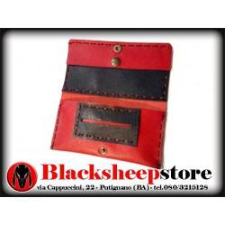 Portatabacco rosso in pelle saffiano