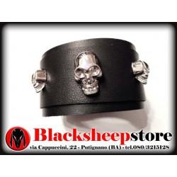 Bracciale in cuoio teschi, skulls, leather, bracelet